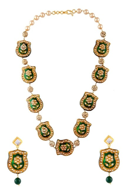 Kundan & pink beaded necklace & earrings