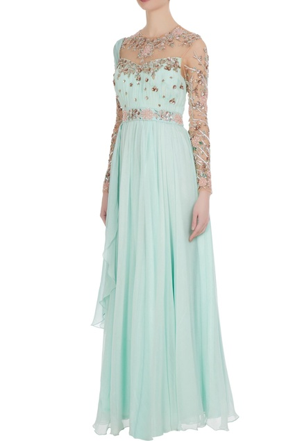 Cutdana & dabka embroidered draped style gown