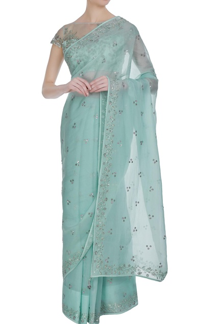 Organza floral hand embroidered saree with blouse
