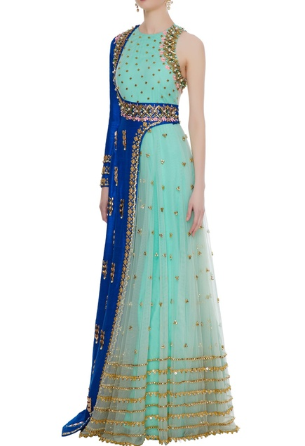 Mint & blue tulle & raw silk embroidered anarkali with one shoulder jacket
