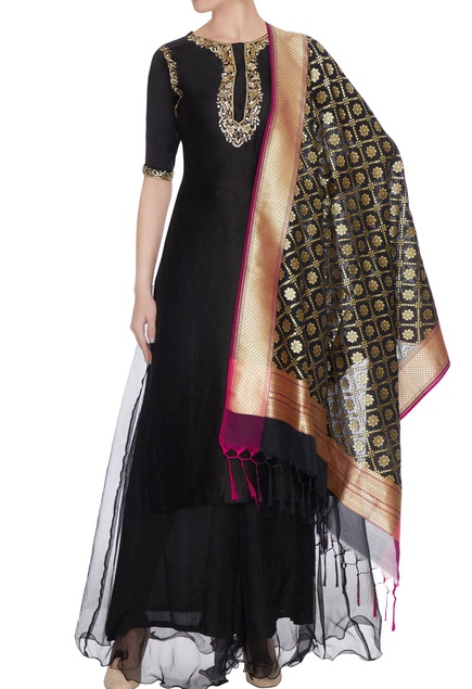 Black chanderi silk gota & zari embroidered kurta with palazzos & banarasi dupatta