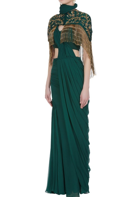 Pre-draped saree with hand-embroidered tassel cape
