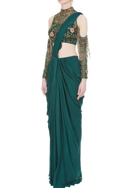 Crepe & net 3D floral & bugle bead embroidered saree & cold-shoulder blouse