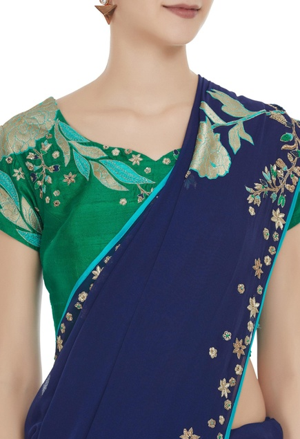 Hand embroidered saree with blouse.