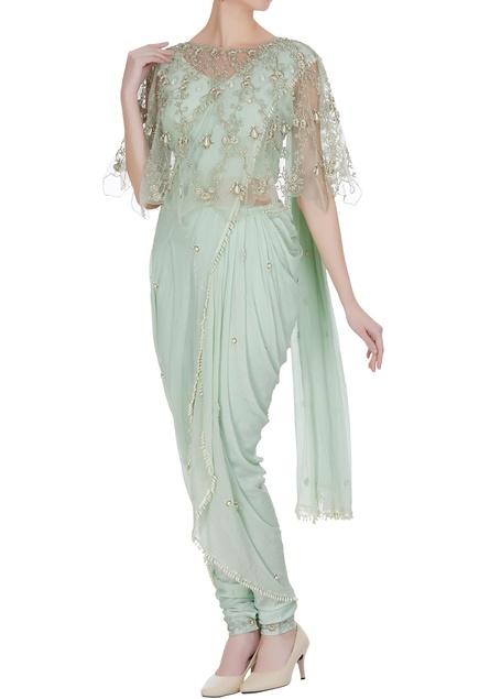 Dhoti pearl pre-draped saree with jodhpuri pants, cape & blouse