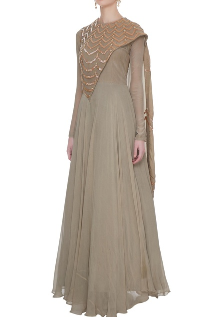 Grey georgette & crepe silk anarkali gown