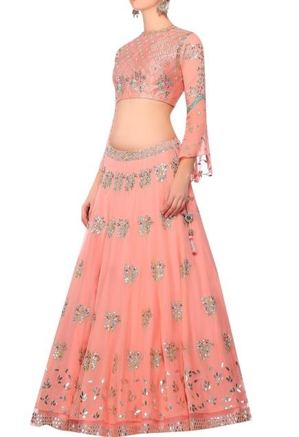 Pink gota work blouse with lehenga & dupatta