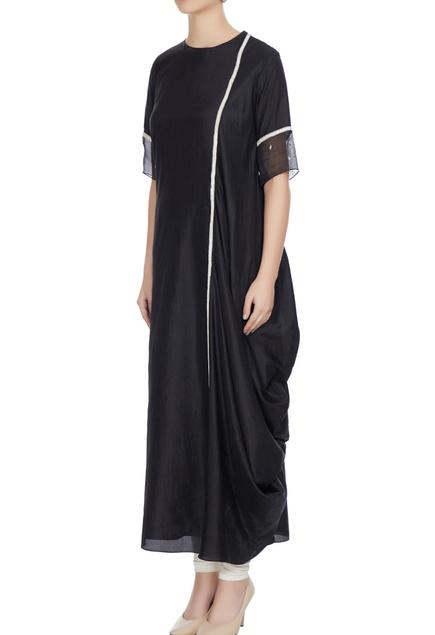 Black kardhana work draped kurta