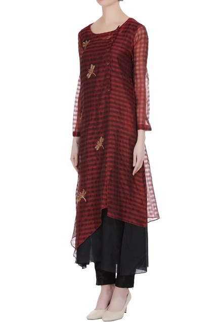 Hand embroidered tunic with uneven hemline