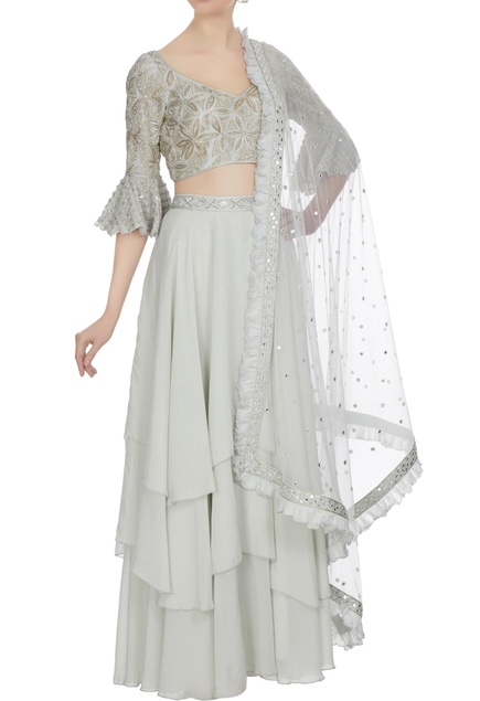 Grey resham gold embroidered flutter sleeve blouse with tier skirt and dupatta