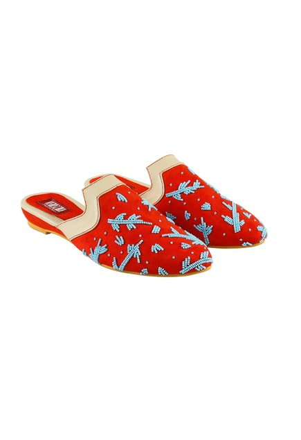 Red suede canopy suede bead work slip-on mules