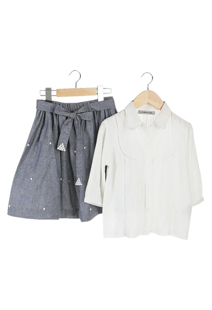White organic cotton button down shirt with denim skirt