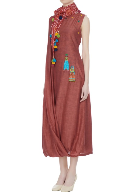 Brown cowl maxi dress with bandhani dyed scarf