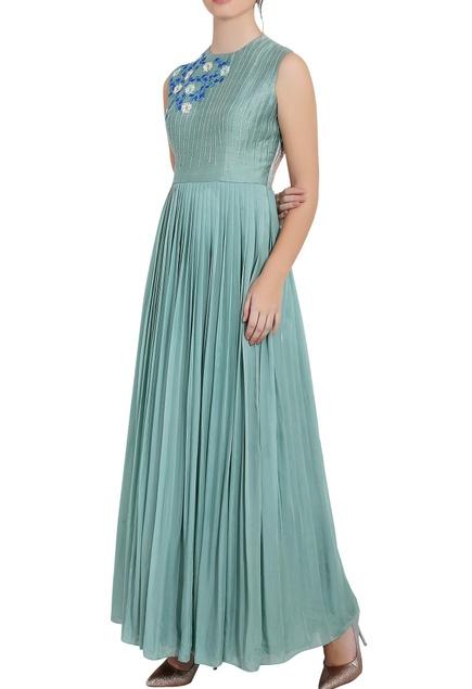 Blue flat chiffon thread work & machine work long pleated gown
