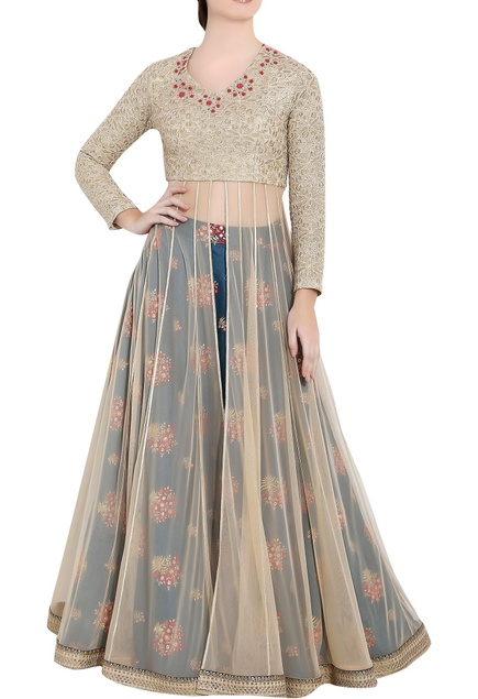 Golden & blue soft net thread work & zardozi work anarkali with separate skirt