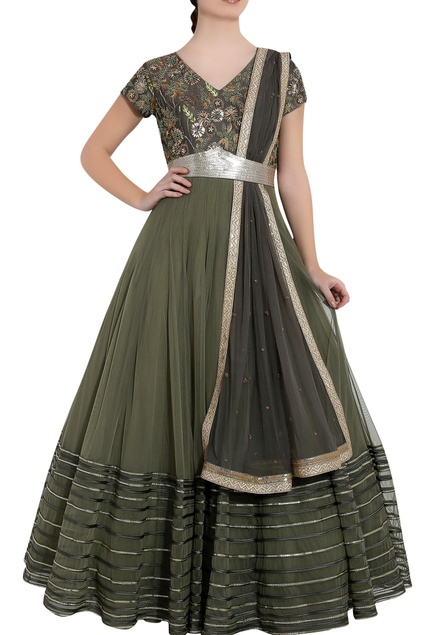 Earth green & olive green soft net sequin & ari technique anarkali with dupatta
