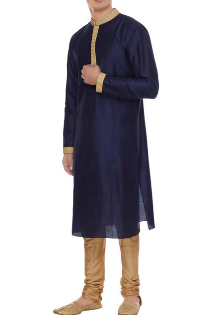 Navy blue cotton silk handwork kurta with gold churidar