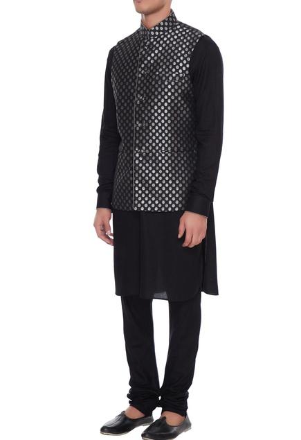 Black chanderi banarasi & silk blend nehru jacket with kurta & churidar