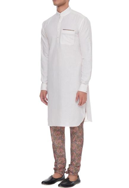 Light pink & white linen kurta with silk printed churidar