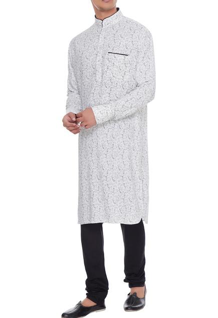 White & black cotton printed kurta with churidar