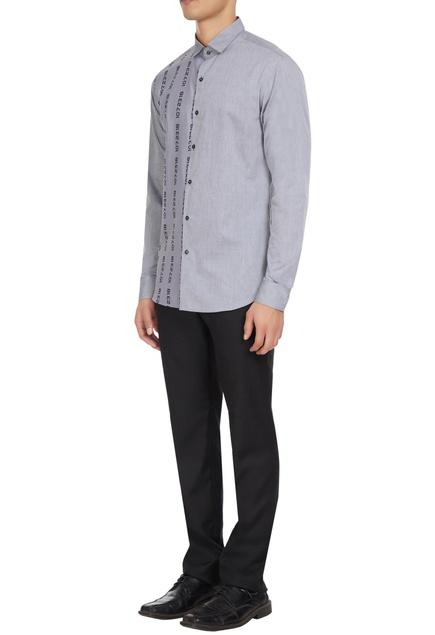 Grey cotton button down shirt in numeric print