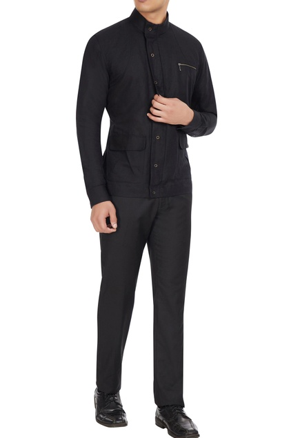 Black cotton-linen shirt