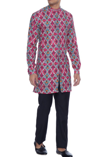 Magenta linen henley kurta shirt