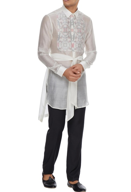 White floral bib layer handloom cotton kurta shirt