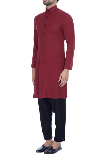 Rust jute button down kurta