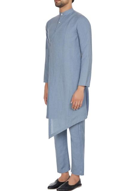 Blue angrakha pleated style kurta