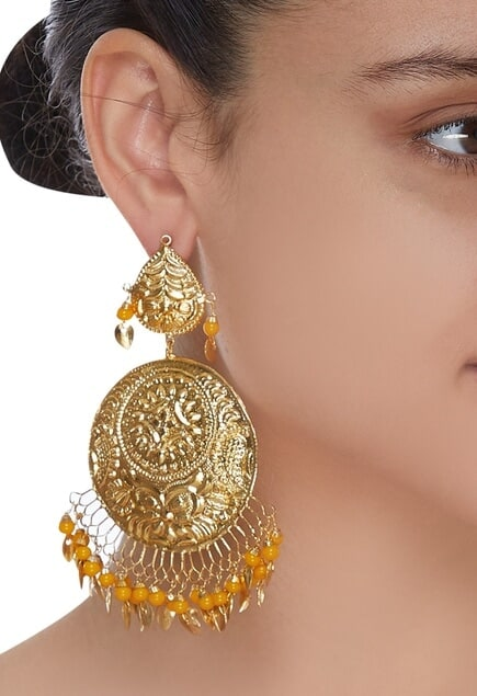 Chandbali earrings with dangling beads
