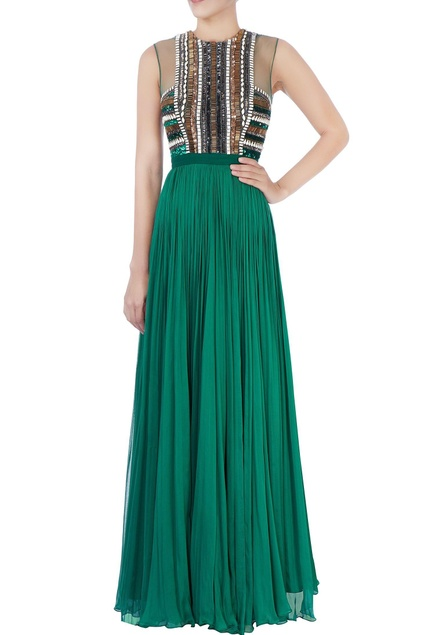Sea green pleated gown