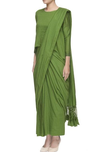 Green bohemian concept sari