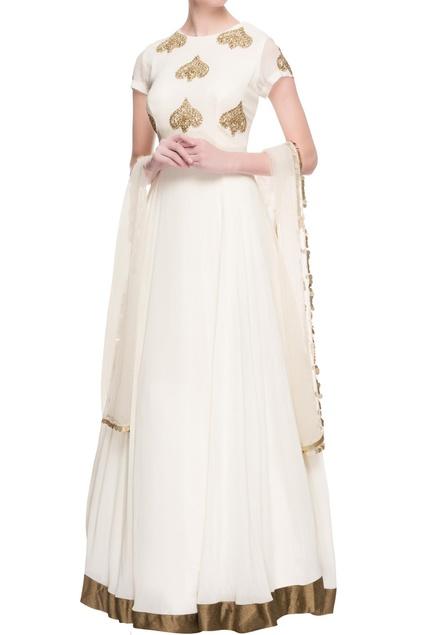 White sequin embellished anarkali