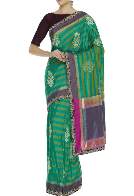 Banarasi embroidered sari with unstitched blouse