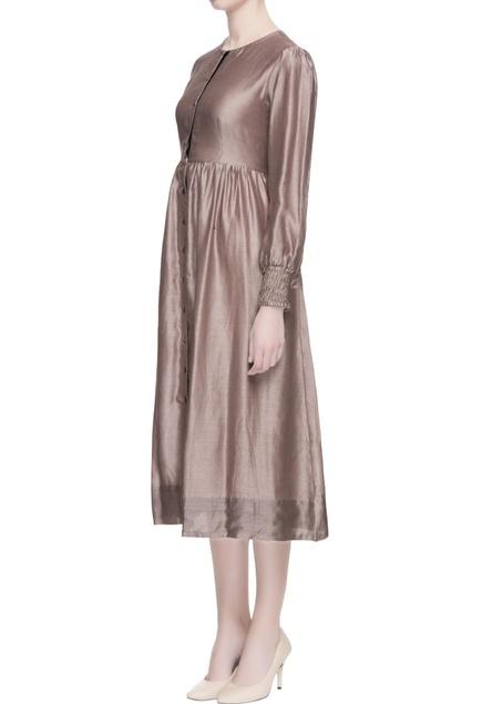Metallic grey chanderi midi dress