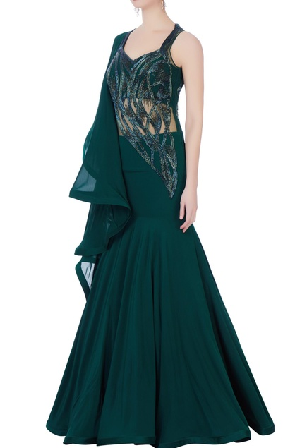 Dark green sequin embellished gown