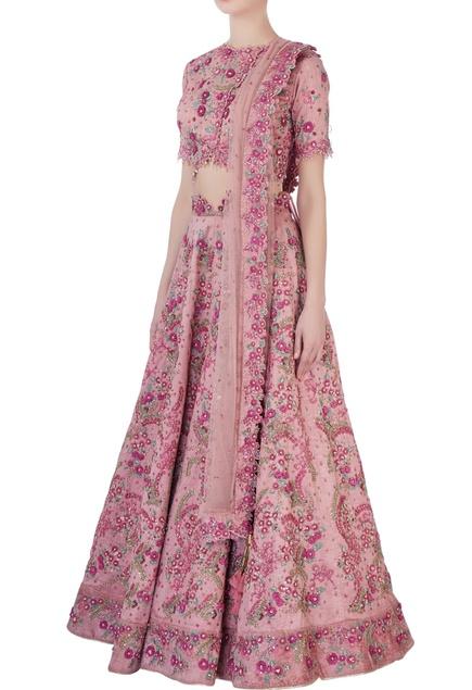 Pink embellished lehenga set
