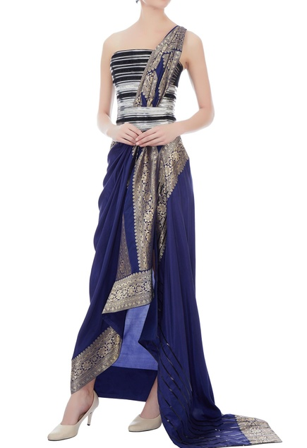 Ink blue brocade bohemian sari gown