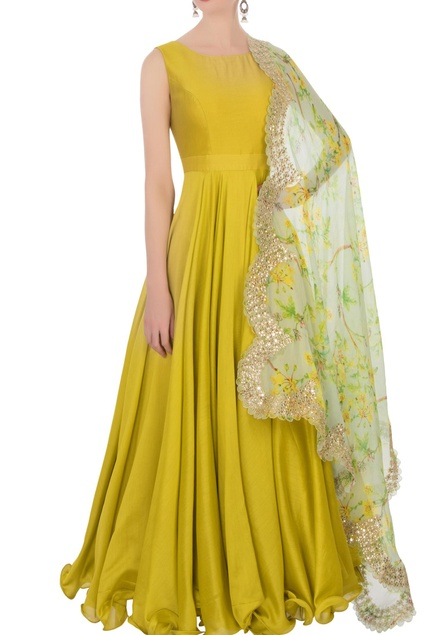 Mustard yellow anarkali set It