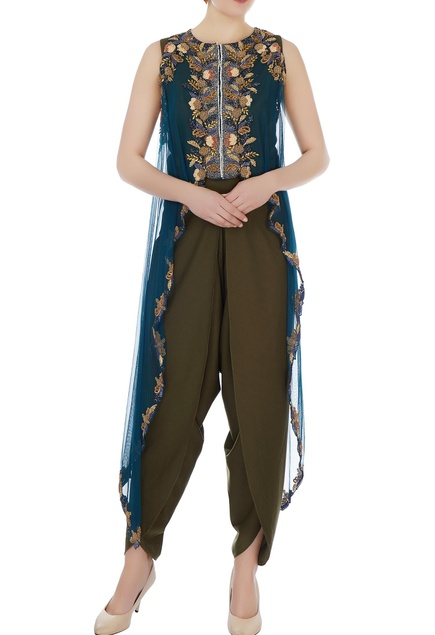 Olive green dhoti jumpsuit with bugle bead embellished cape
