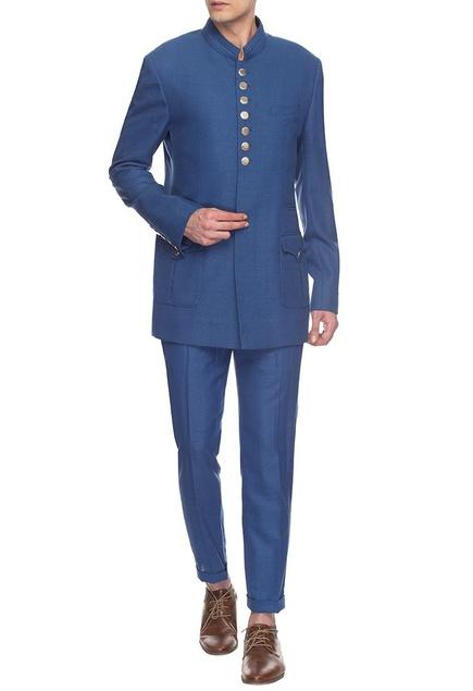 Blue bandhgala & pants set