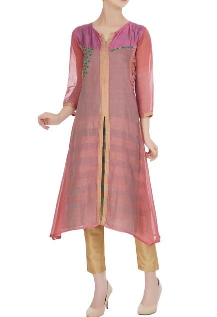 Pink jacket style chanderi kurta