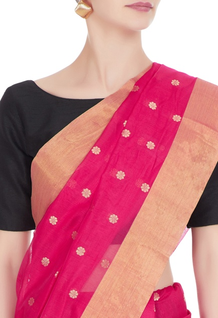 Pink woven chanderi silk saree with unstitched blouse
