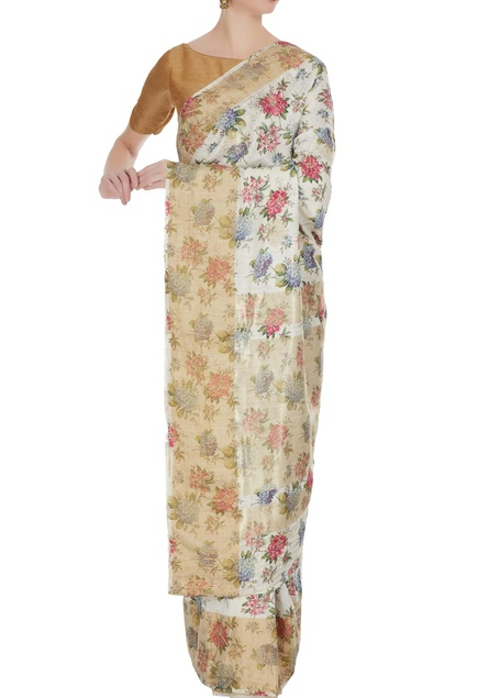Ivory floral digital printed & woven saree with unstitched blouse
