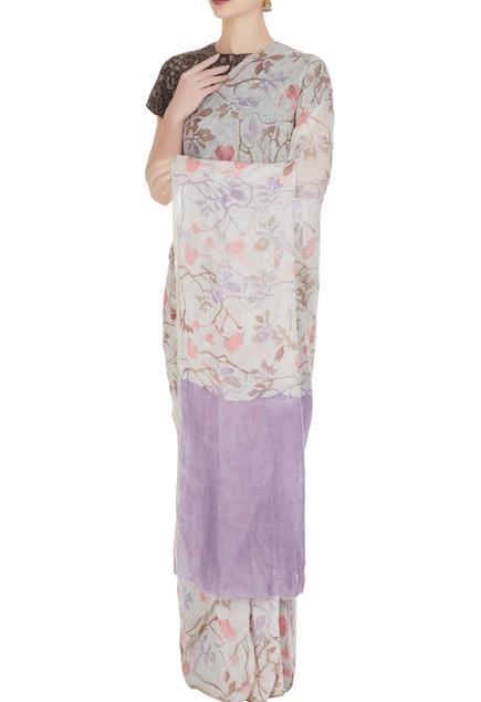 Purple floral batik hand woven linen saree with unstitched blouse