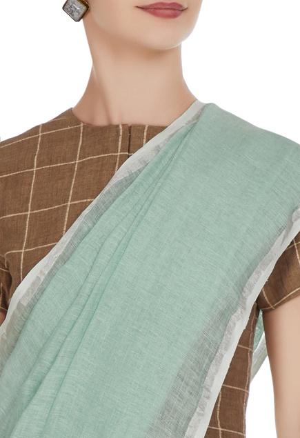 Soft pine green hand-woven linen saree