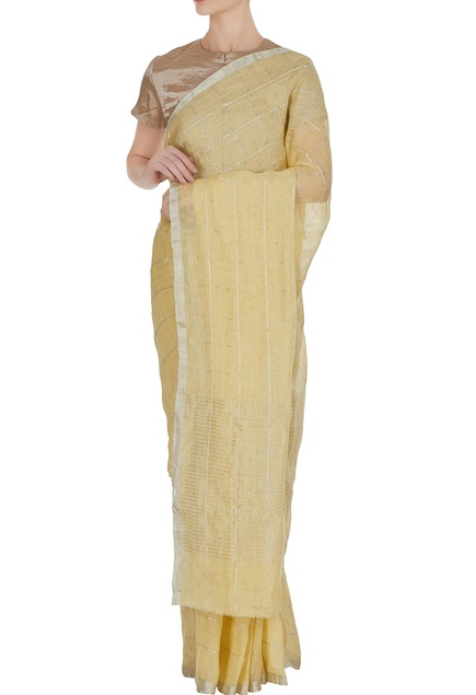 Canary yellow & silver linen hand woven saree with unstitched blouse