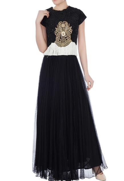 Black & white raw silk persian dori & fringed blouse with skirt