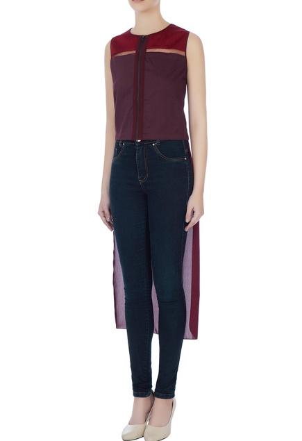 Burgundy & maroon sleeveless high low top